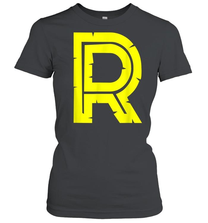R Yellow Alphabet Monogram Initials shirt Classic Women's T-shirt
