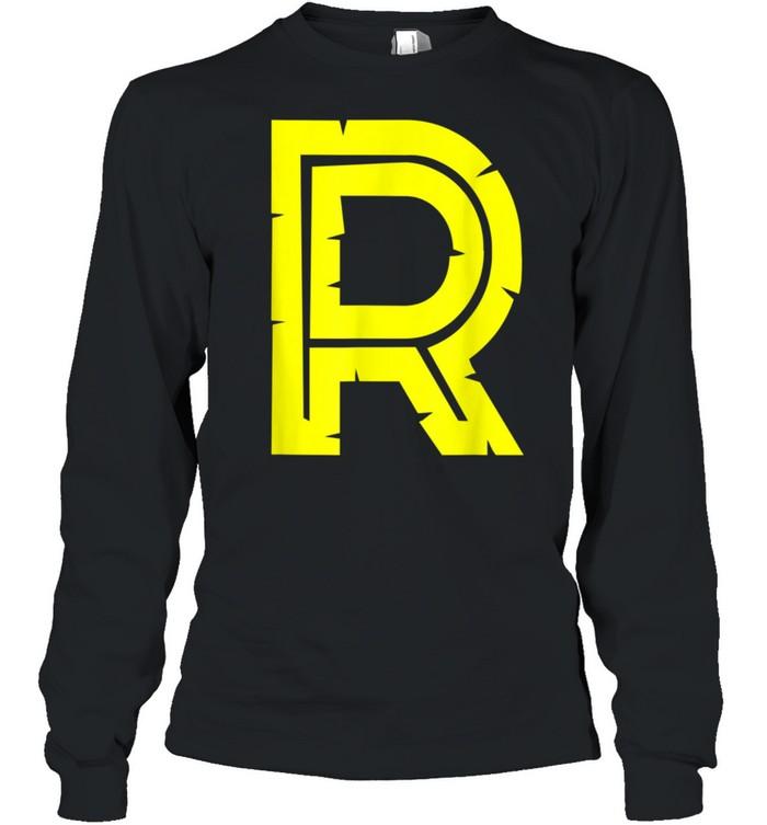 R Yellow Alphabet Monogram Initials shirt Long Sleeved T-shirt