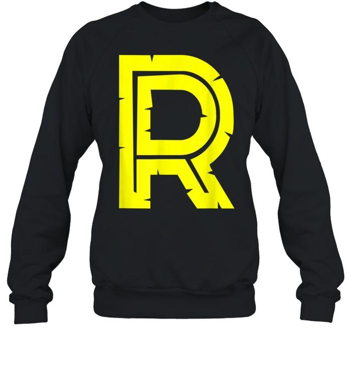 R Yellow Alphabet Monogram Initials shirt Unisex Sweatshirt